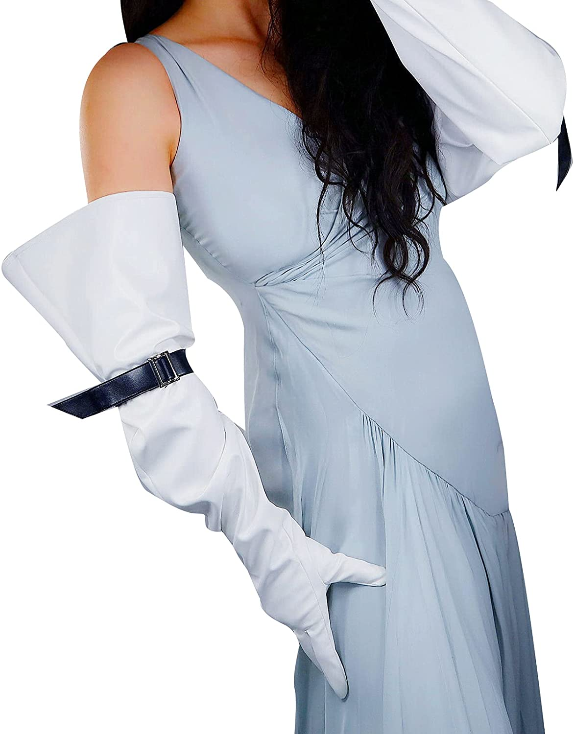 DooWay Unisex Extra Long Faux Leather Gloves Wide Large Sleeve with Belt PU Unlined Costume Party Prom 28 inches