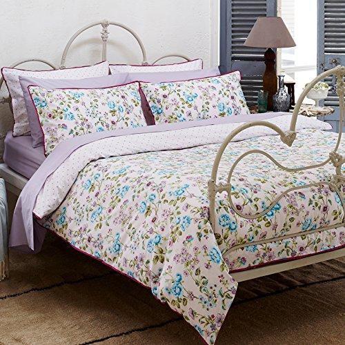 Ditton Hill Camillia Multi Floral Blue Lilac Purple Green Double Duvet Cover Set