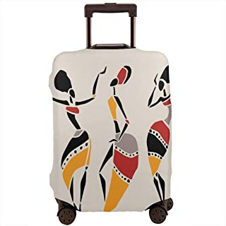 Travel Luggage Cover,African Dancers Silhouette Set Ethnic Native Dresses Party Carnival Tradition Suitcase Protector