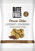 BITE FUEL Power Bites High Protein Cookies, Non GMO, Gluten Free, Low Carb - Chocolate Chip Cookies, 2.47 Oz (Pack of 8)