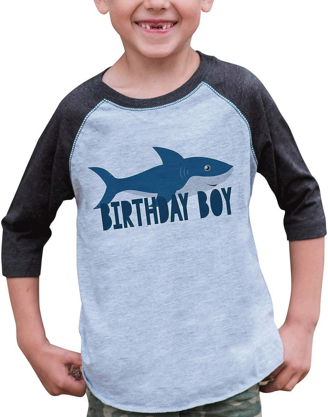 7 ate 9 Apparel Boy's Shark Birthday Blue Raglan Tee