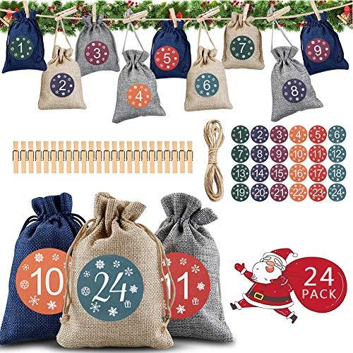 Adventskalender Zum Befüllen, 24 Jutesäckchen Adventskalender Jutesäckchen Adventskalender zum befüllen und Aufhängen, 2020 Weihnachten Adventskalender Säckchen Geschenksäckchen 24 Zahlen Aufkleber