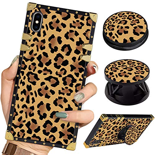 Bitobe Luxury Square Phone Case iPhone Xs Max Leopard Pattern Retro Elegant Soft TPU Design Cover for iPhone Xs Max 6.5 inch 2018