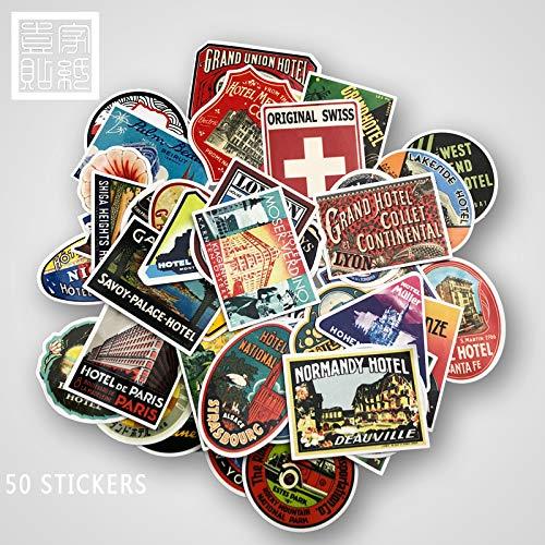 Gepersonaliseerde stickers reiskoffer koffer gitaar retro hotel nostalgische waterdichte stickers 50 vellen