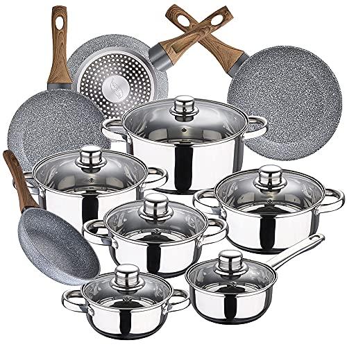 Bateria de cocina 12 piezas SAN IGNACIO Cassel, acero inoxidable, con juego sartenes (20/24/26/28 cm) SAN IGNACIO Granito en aluminio forjado