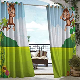 Andrea Sam Exterior/Outside Curtains Nursery,Cute Playful Monkeys Hanging on Vines Young Kid Chimpanzees Summer Fun, Pale Blue Brown Green,W96 xL84 Outdoor Patio Curtains Waterproof with Grommets
