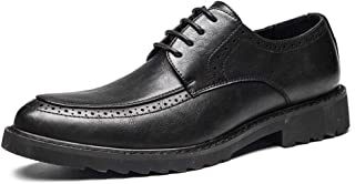 Men's Business Oxford Shoes Lace Up Microfiber Leather Waxy Shoelaces Brogue Carving Block Heel Perforated Dress for Men Shoes (Color : Black, Size : 6.5 UK)