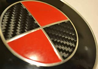 justdecalit Carbon Black Pick 2nd Color Sticker Overlay Vinyl for All BMW Emblems Caps Logos Roundels (Gloss red)