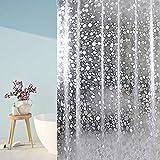 trounistro Duschvorhänge, Duschvorhang Anti-Schimmel Wasserdicht Vorhang Duschvorhang 3D Wasserwürfel Shower Curtain Anti-Bakteriell mit 12 Duschvorhangringen (weiß, 180 * 180)
