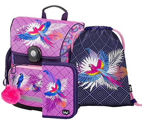 Schulranzen Mädchen Set 3 Teilig, Schultasche ab 1. Klasse, Grundschule Ranzen mit Brustgurt, Ergonomischer Schulrucksack (Papagei)