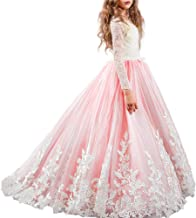 FYMNSI Flower Girl Tulle Dress Kids Lace Beaded Pageant Long Sleeve First Communion Christmas Wedding Cocktail Ball Gowns