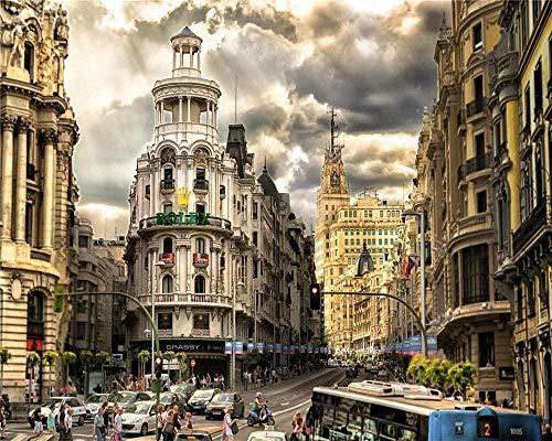 RHUARompecabezas para adultos Rompecabezas de madera de 1000 piezas Calle de Madrid Muy buen juego educativo