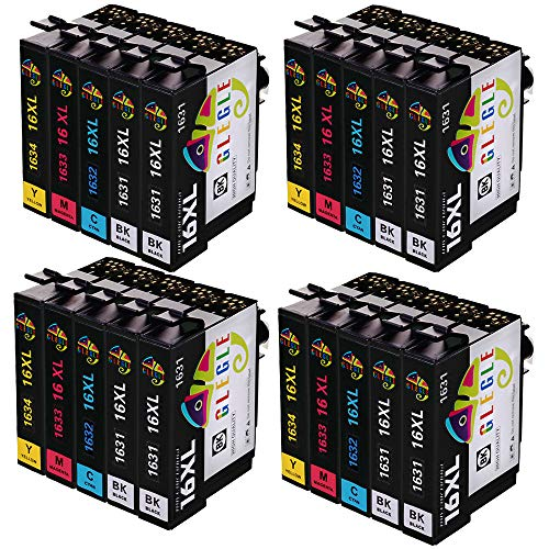 GLEGLE 16XL Cartuchos Tinta 20 Multipack Reemplazo para Compatible con EPSON WORKFORCE WF-2630WF WF-2510WF WF-2750DWF WF-2530WF WF-2540WF WF-2760DWF WF-2650DWF WF-2660DWF WF-2520NF WF-2010W