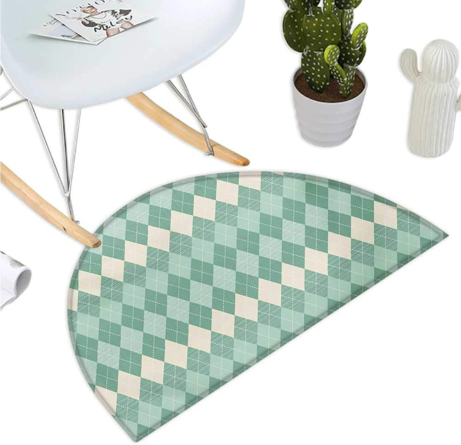 Aqua Half Round Door mats Rectangular Triangle Shapes Abstract Design Sketchy Lines Bathroom Mat H 51.1  xD 76.7  White Seafoam Pale bluee and Turquoise