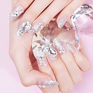 Drecode False Nails Bling Sequins Rhinestone Pearl Full Cover Fake Nail Glitter Wedding Birthday Party Acrylic Nails for Women and Girls(24Pcs)