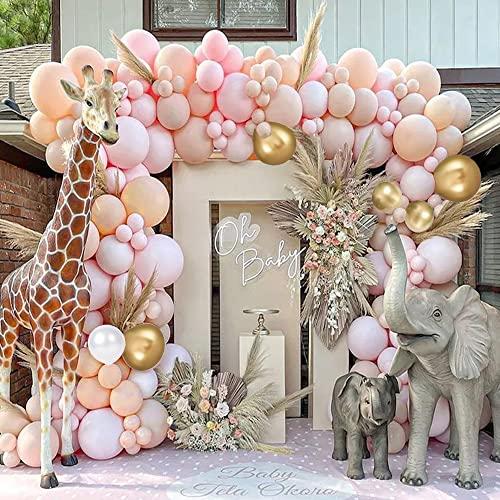 Globos Rosa, Kit de Arco de Globos Rosa Guirnalda de Globos 106 piezas Albaricoque Blanco Globos Rosa y dorados para Baby Shower Fiesta Cumpleaños Bodas Bautizo Aniversario Decoraciones