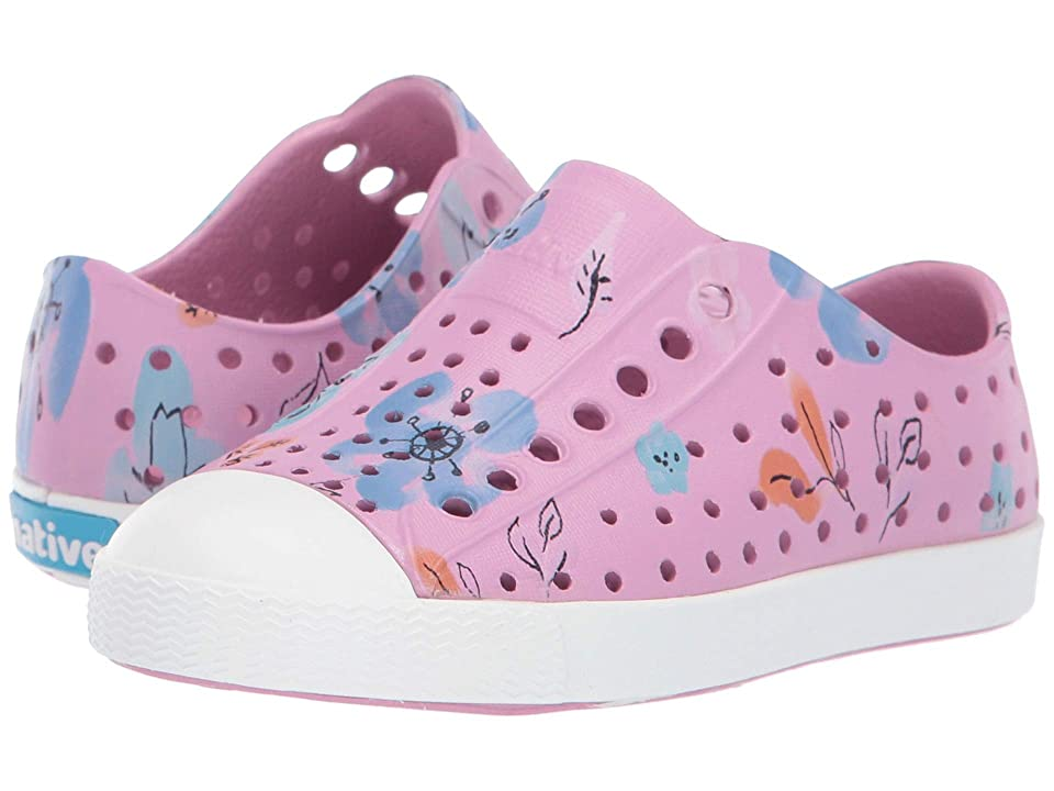 Native Kids Shoes Jefferson Print (Toddler/Little Kid) (Watercolor Pink/Shell White/Blossom Paint) Girls Shoes