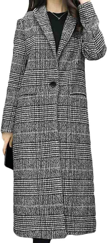 BYWX Women Wool Blend One Button Fashion Plaid Notched Lapel Long Outerwear