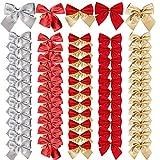 BHGT 60PCS Noeud de Ruban de Noël 5.5cm Arcs de Noël 5 Couleurs Ruban Nœuds Papillons Ornements Decoration de Noël pour Arbres de Noël Emballages Cadeaux Sapin de Noël Guirlande Voiture Mariage