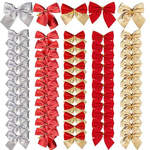 BHGT 60 Lazos de Navidad 5,5cm Colgantes Árbol de Navidad Adornos Navideños Manualidades Decoración Regalos Casa Dorado Plateado Rojo