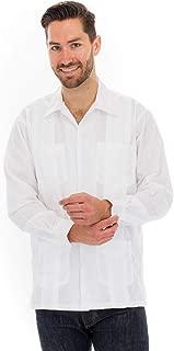 Cuban Style Guayabera Shirt, Long Sleeve, White
