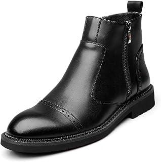 [モリケイ] 黒ブラウン チェルシーブーツ サイドジッパー メンズ ショートカット マーチン スムースシューズ 本革 軽量 撥水加工 滑り止め 痛くない 歩きやすい 大きいサイズ ビジネス 男性靴 通勤 バイカー