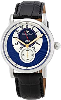 Men's 'Santorini' Quartz Stainless Steel and Leather Watch, Color:Black (Model: LP-40043-03)