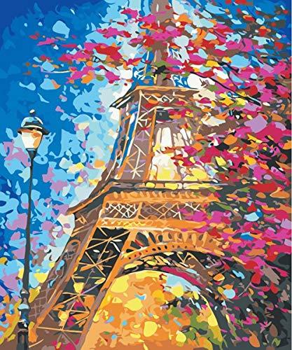 Herize Pintar por Numeros para Adultos | DIY Pintura al óleo Kit con Pinceles y Pinturas para Niños | Torre Eiffel Decoraciones para el Hogar 40 x 50 CM | Sin Marco