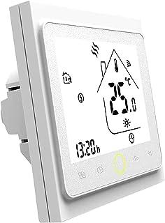 Blusea Termostato Programable WiFi 3A para calefacción Individual de calderas de Gas/Agua Funciona con Alexa/Google Home C...