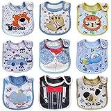 HaimoBurg Paquete de 9 Baberos Impermeables de Bebés Niña 0 a 3 años