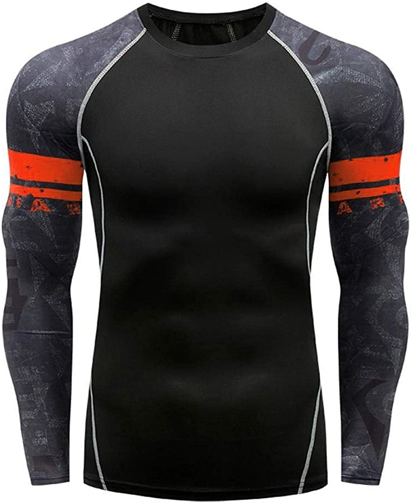 Compression Tops for Men, Workout Fitness Sports Running Yoga Tights Athletic Shirts Long Sleeve Base-Layer Blouses by Leegor