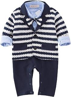 入り口電化する恐れMornyray ベビー服 フォーマルロンパース カバーオール ワイシャツ風 長袖 カーディガン 2点セット 蝶ネクタイ付き コットン 男の子
