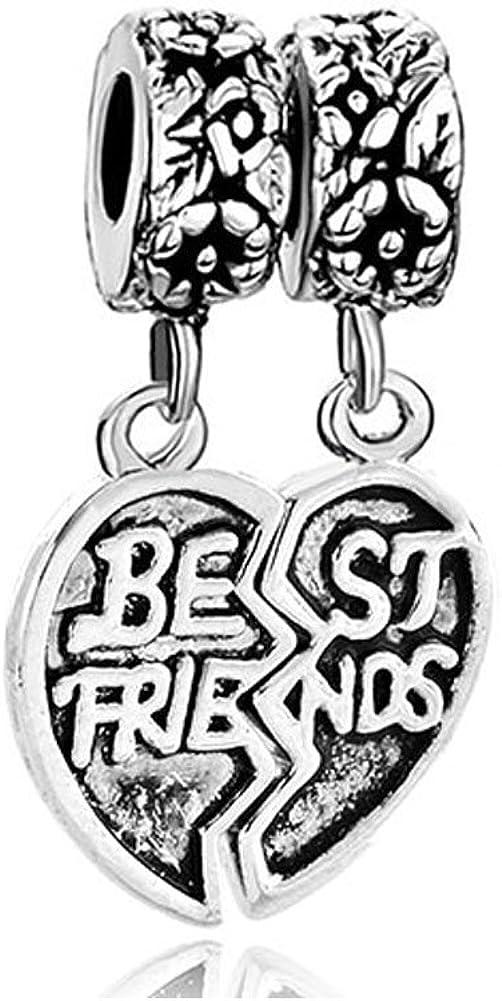 LilyJewelry Best Friends Friendship Heart Charm Bead Fits European Snake Chain Bracelets