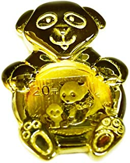 24K Genuine Chinese Panda Bear Coin in 14K Solid Yellow Gold Bear Coin Charm Pendant