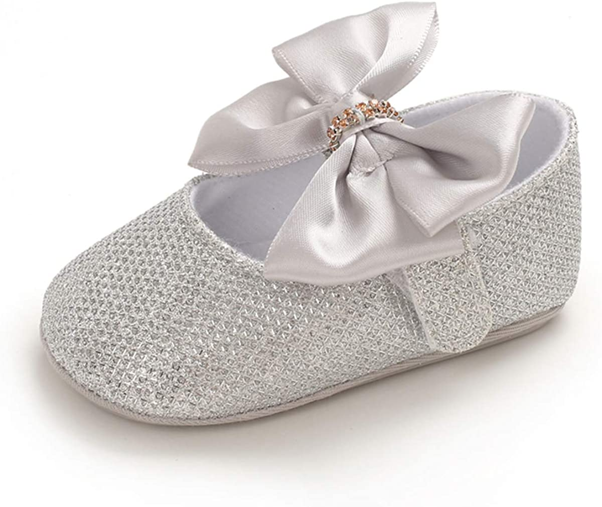  Baby Girls Mary Jane Flats Non-Slip Soft Rubber Sole Bowknot Princess Dress Crib Shoes for Toddler First Walkers   Mary Jane