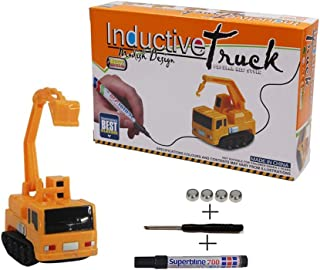 Andenley Inductive Car Toy Magic Mini Excavator Inductive Truck Follow Any Drawn Line