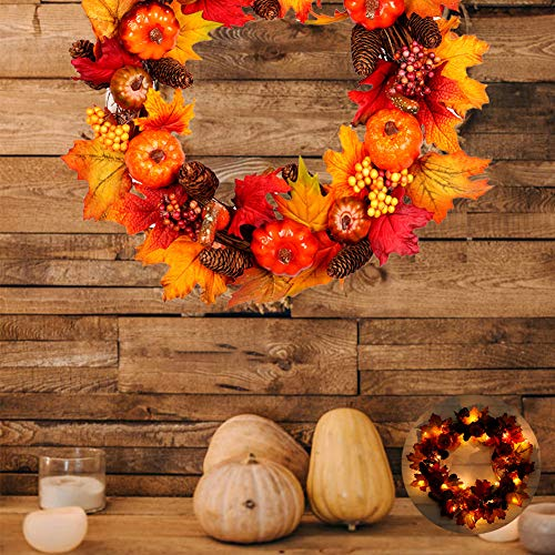 NEEDL CO Pumpkins Fall Wreath, Berries Garland Harvest Wreath -Autumn Maple Leaf Harvest Thanksgiving Door Wreath for Front Door with Pumpkins, Pinecone, Maple Leaf 23.6Inch 23.6Inch-A withlight-L
