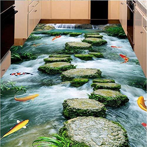 Aangepaste Vloer Schilderen 3D Vloer Tegel Schilderij Leisteen Pad Toilet Badkamer 3D Woonkamer Slaapkamer Mall Vloer Mural 350cm(L) x245cm(W)