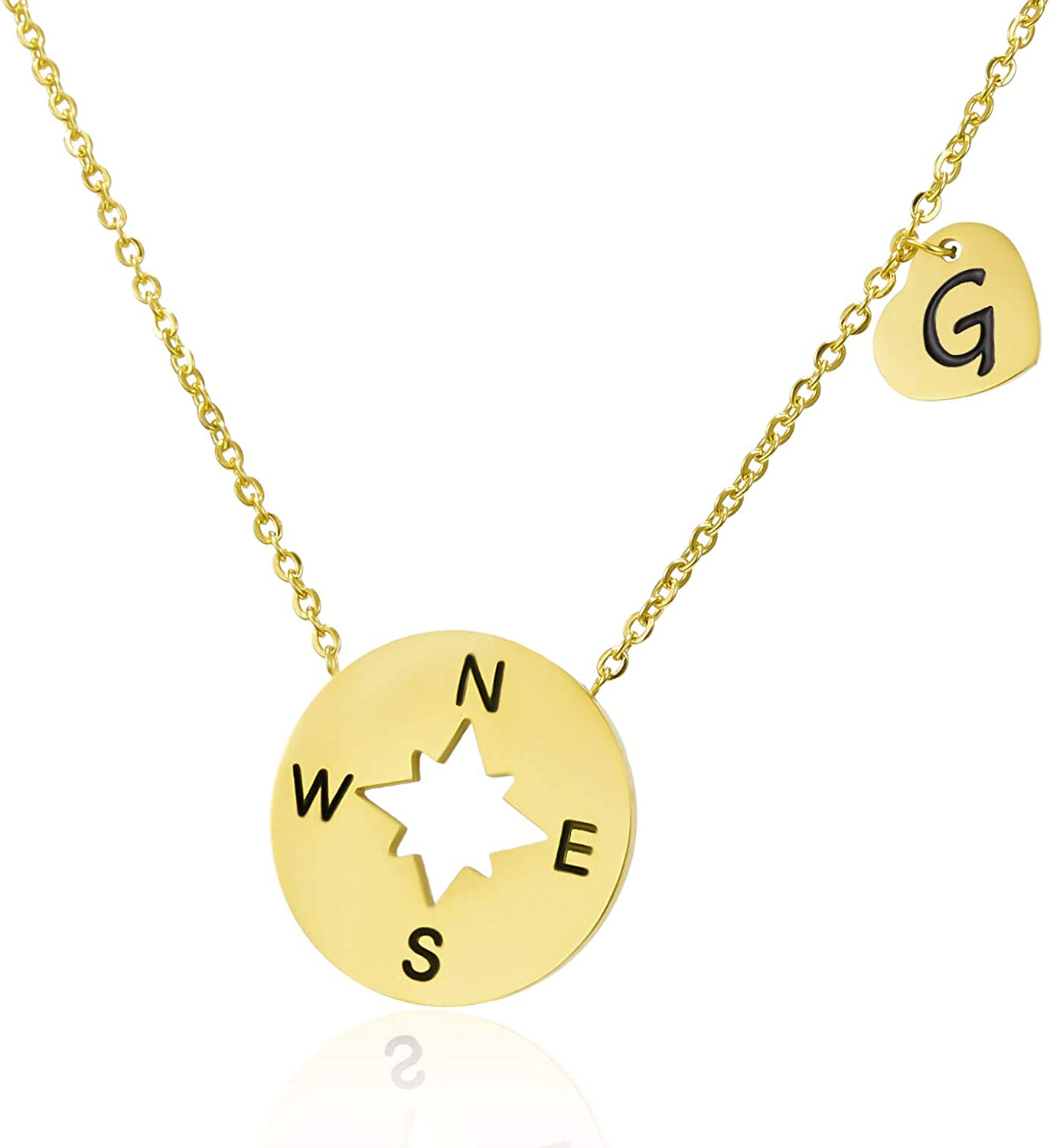 BELLA-Bee Friendship Compass Necklace Stainless Steel 18K Gold Plated Heart Pendant with Initial Letter A-Z Necklace For Women Teens Girl