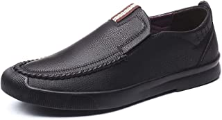 XUJW-Shoes, Mens Driving Leisure Loafers for Men Walking Shoes Casual Flat Rubber Sole Microfiber Leather Collision Avoidance Toe Stitching Anti-Slip Solid Color (Color : Black, Size : 6.5 UK)