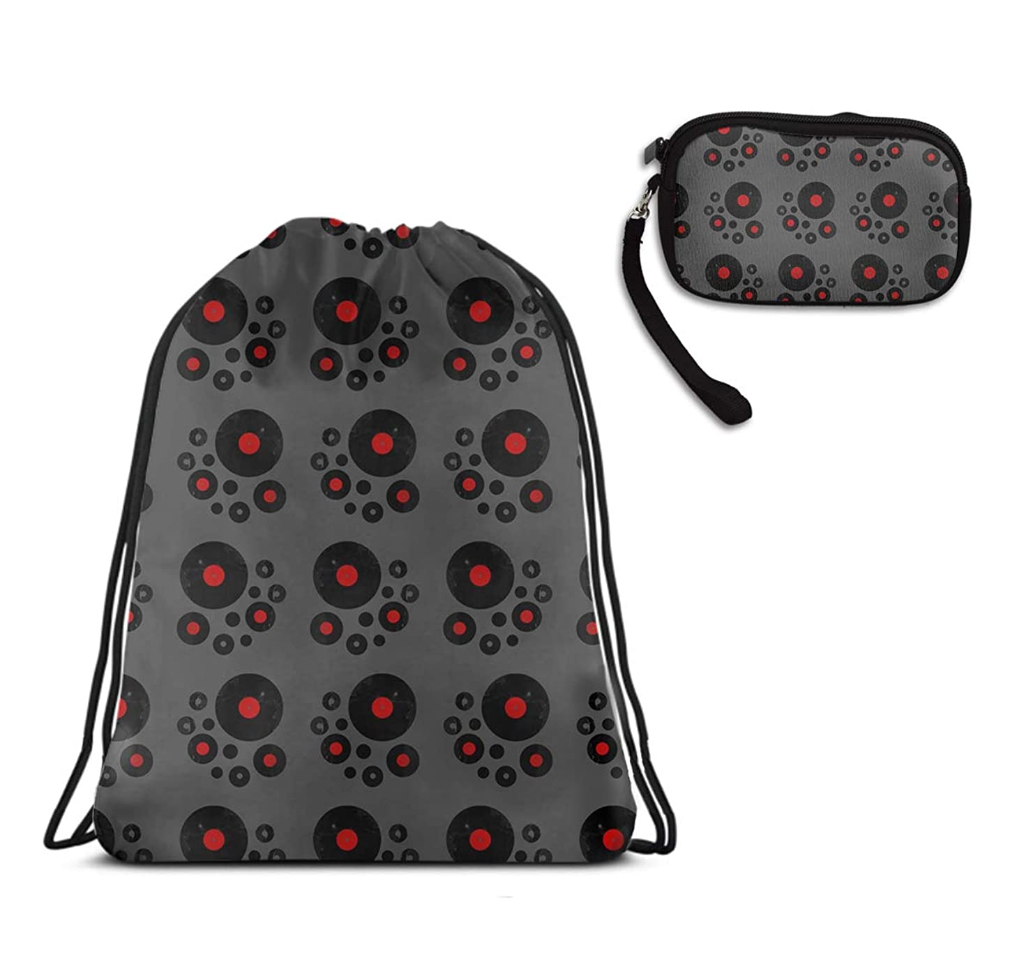 Vinyl Records Retro Music Darwstring Quick Pack Backpack With Zipper Coin Purse