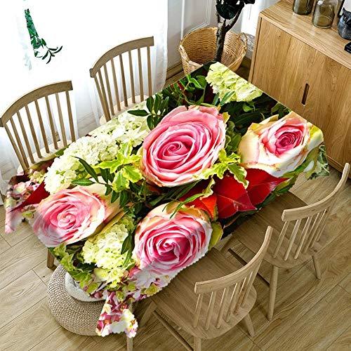 Viner Pink Rose met witte kleine bloemen Tafelkleed schilderen Multifunctioneel digitaal printen 3D Tapijtkleed Tafelkleed, 280 * 280cm