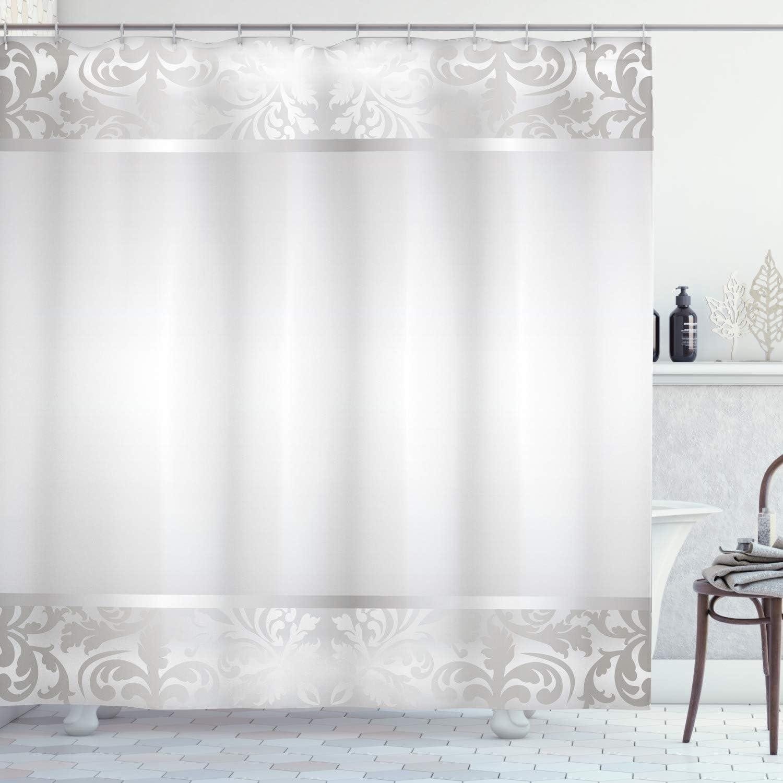 Ambesonne Grey Shower Curtain, Rococo Style Framework Ornaments Old Fashioned Antique Design Retro Borders, Cloth Fabric Bathroom Decor Set with Hooks, 70