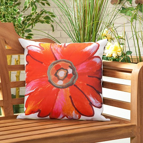 Gardenista Garden Outdoor Scatter Cushion | Patio Rattan Chairs Foam Filled Furniture Pattern Pillow | Water Resistant | Hypoallergenic Foam Crumb Filled (Daisy Red)