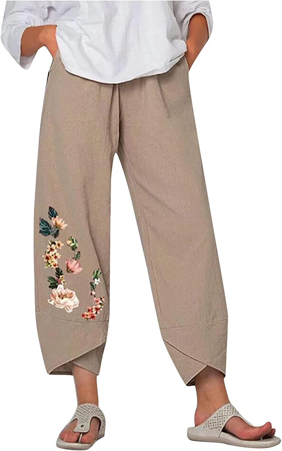 Wabtum Summer Pants for Women Cotton Lin quality assurance Printing Casual Indefinitely Women's