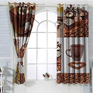 FreeKite Kitchen Curtains for Sliding Glass Door Collection of Chocolate Sweets Muffins Coffee Beans and Mugs Cappuccino Pastries Room Decor Blackout Shades W96 x L96 Inch Multicolor