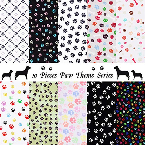 10 Pieces Paws Fabric Cute Paw Prints Squares Paw Print Fabric Fat Quarters Sewing Fabric Animal Footprint Puppy Cat Bone Printed Fabric for DIY Crafts Supplies (10 x 10 Inch)