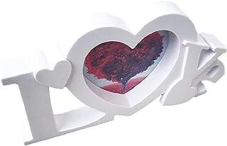 [クイーンビー] フォトフレーム LOVE ハート デザイン 写真 立て 飾り スタンド 壁 掛け 北欧 おしゃれ 恋人 新婚 夫婦 カップル 結婚 ウエディング ギフト お祝い プレゼント (ホワイト)