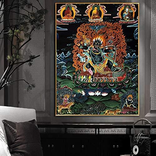Z.L.FFLZ Tibétain Religion Chinoise Bouddha Peinture Toile Panneau daffiche Panneau Art Art Picture Murale Décor (Color : Libre, Size (inch) : 15x20cm)