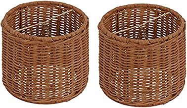 Upgradelights Wicker Chandelier Set of 2 Lamp Shade 5 Inch Retro Drum, Clips onto Bulb. 5x5x4.5